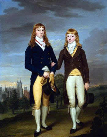 Portrait of Two Eton School Boys in Admontem Dress, Eton Chapel Behind by Francis Alleyne, ca. 1774-1790